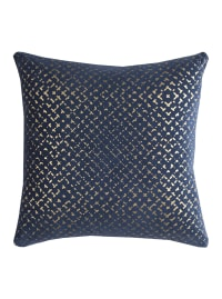 Geometric Gold & Navy Poly Filled Pillow - Back