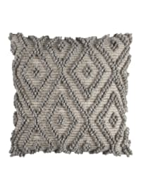 """Gray 100% Cotton 20""""x20"""" Poly Filled Throw Pillow - Gray - Back"""