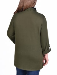 3/4 Sleeve Cardigan With Mask-Cowl Neck Inset - Plus - Back