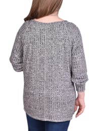 Long Sleeve Cuffed Rib Pullover - Plus - Charcoal - Back