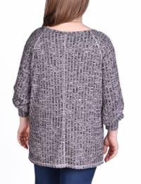 Long Sleeve Cuffed Rib Pullover - Plus - Mauve - Back