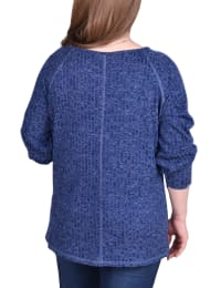 Long Sleeve Cuffed Rib Pullover - Plus - Navy - Back