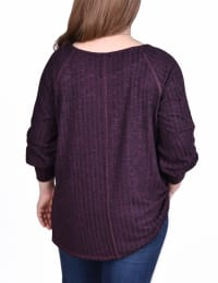 Long Sleeve Cuffed Rib Pullover - Plus - Plum - Back