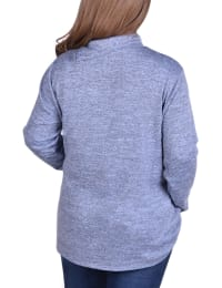 Long Sleeve Zippered High Neck Pullover - Plus - Back