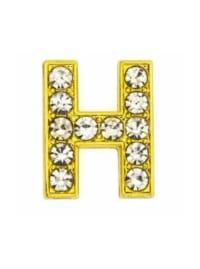 "Pave Letter ""H"" - Gold Charm - Gold - Back"