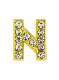 Pave Letter N - Gold Charm - Gold - Back