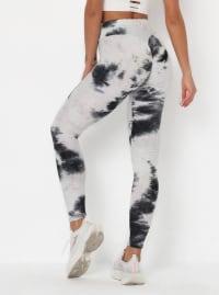 Black & White High Waist Tie Dye Leggings - White / Tie Dye - Back