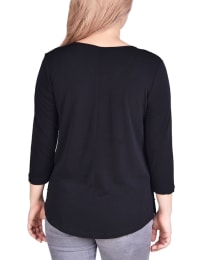 3/4 Sleeve Crepe Pullover With Toggles - Petite - Black - Back