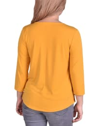 3/4 Sleeve Crepe Pullover With Toggles - Petite - Golden Glow - Back