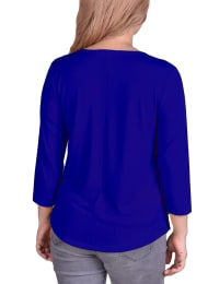 3/4 Sleeve Crepe Pullover With Toggles - Petite - Surf The Web - Back