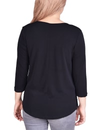 Long Sleeve Crepe Pullover With Button Details - Plus - Back