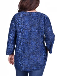 Elbow Sleeve Pullover With Lacing - Plus - Blue - Back