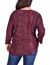 Elbow Sleeve Pullover With Lacing - Plus - Wine - Back