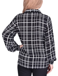 Long Sleeve Rounded Collar Blouse - Petite - Back