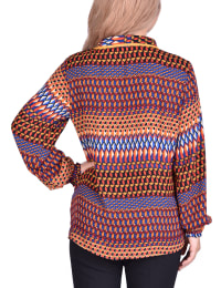 Long Sleeve Rounded Collar Blouse - Petite - Brick Print - Back