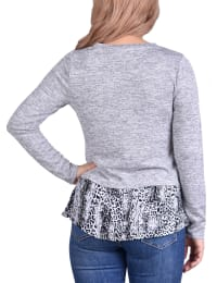 Hacci Top With Printed Hem Inset - Heather Grey / Leosnake - Back