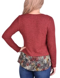 Hacci Top With Printed Hem Inset - Rust / Black Multispeck - Back
