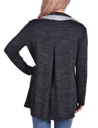 Long Sleeve Crossover Front Cowl Neck Cardigan - Black / Grey - Back