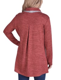 Long Sleeve Crossover Front Cowl Neck Cardigan - Wine / Grey - Back
