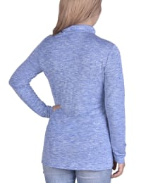 Long Sleeve Zippered High Neck Pullover - Colony Blue - Back