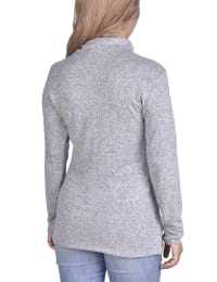 Long Sleeve Zippered High Neck Pullover - Grey - Back
