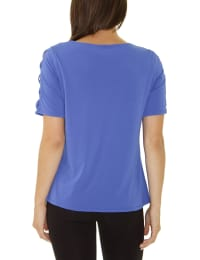 Short Sleeve Zippered Knit Top - Petite - Dazzling Blue - Back