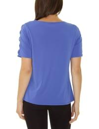 Short Sleeve Zippered Knit Top - Petite - Back