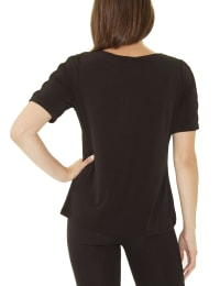 Short Sleeve Zippered Knit Top - Petite - Black - Back
