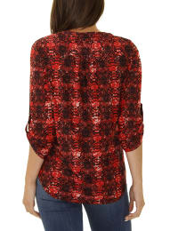 3/4 Sleeve Pintuck Y Neck - Petite - Berry - Back