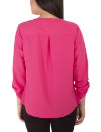 3/4 Roll Tab Sleeve Pullover - Petite - Magenta - Back