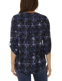 3/4 Sleeve Pintuck Y Neck - Petite - Blue - Back