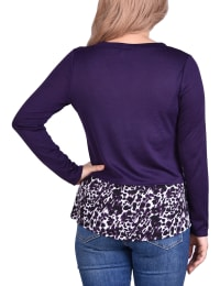 Hacci Top With Printed Hem Inset - Eggplant / Leopard - Back