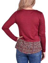 Hacci Top With Printed Hem Inset - Burgundy / Squareline - Back