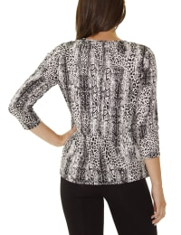 Elbow Sleeve Pullover With Drawstring - Petite - Black Leosnake - Back