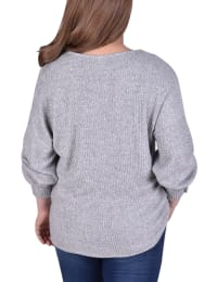 Long Sleeve Cuffed Pullover With Criss Cross Front - Plus - Back