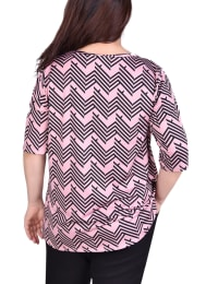 Short Sleeve blouse With Front Grommets And Tabs - Plus - Back
