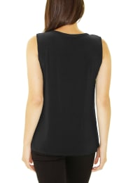 Sleeveless Tank With Grommets - Black - Back