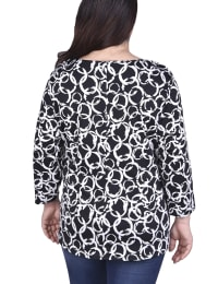 Elbow Sleeve Pullover With Drawstring Detail - Plus - Back
