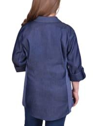 3/4 Roll Tab Sleeve Denim Y Neck Shirt - Plus - Back