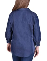 3/4 Sleeve Denim Blouse With Knit Insets - Plus - Back