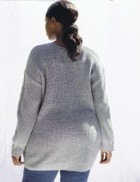 Westport Lurex Boyfriend Cozy Cardigan - Plus - Medium Heather Grey - Back
