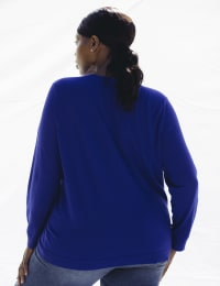 Roz & Ali Rhinestone Pullover Sweater - Plus - Royal - Back