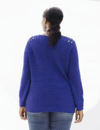 Westport Scallop Neck Jewel Pullover  - Plus - Royal - Back