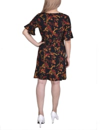 Bell Sleeve Belted Dress - Petite - Black Floral - Back