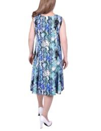 Printed Sleeveless A-Line Dress - Plus - Back