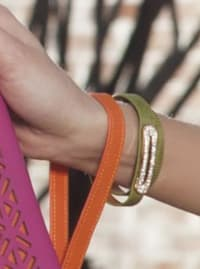 Luxe Leather Bracelet - Lime Green - Back
