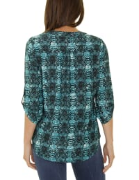 3/4 Sleeve Pintuck Y Neck - Petite - Teal - Back