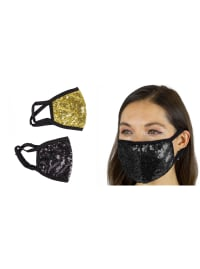 2 Pieces Sequin Face Mask Covering - Black / Gold - Back