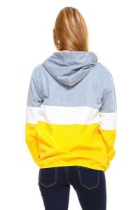 Color Block Sporty Windbreaker Jacket - Grey / Mustard - Back
