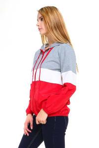 Color Block Sporty Windbreaker Jacket - Grey / Red - Back